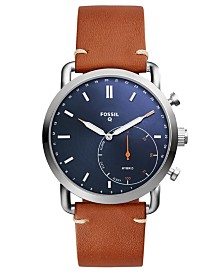Fossil Q Men's Commuter Brown Leather Strap Hybrid Smart Watch  42mm