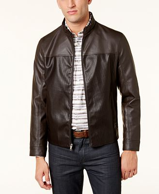 Alfani Men's Faux-Leather Bomber Jacket, Created for Macy's ...