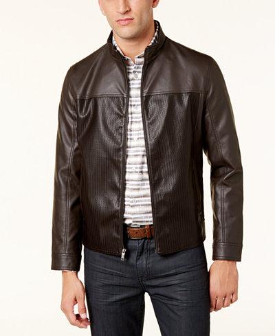 Alfani Men's Faux-Leather Bomber Jacket, Created for Macy's ...
