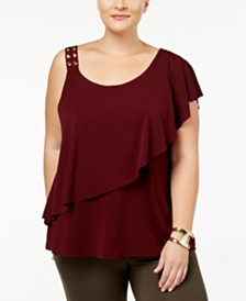 Belldini Plus Size Ruffled One-Shoulder Top