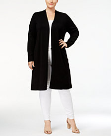 Love Scarlett Plus Size Laced Grommet Back Duster Cardigan