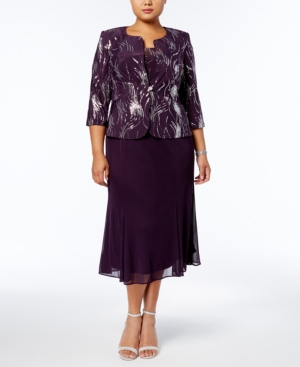 Alex Evenings Plus Size Sequined Chiffon Dress and Jacket plus size,  plus size fashion plus size appare