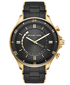 Michael Kors Access Men's Reid Gold-Tone Stainless Steel and Black Silicone Bracelet Hybrid Smart Watch 45mm