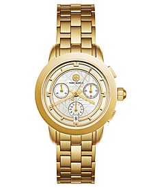 Women's Tory Classic Chronograph Gold-Tone Stainless Steel Bracelet Watch 38mm