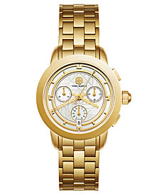 Tory Burch Women's Tory Classic Chronograph Gold-Tone Stainless Steel Bracelet Watch 38mm