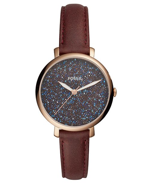Fossil Women's Jacqueline Red Leather Strap Watch 36mm