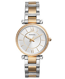 Fossil Women's Carlie Two-Tone Stainless Steel Bracelet Watch 35mm