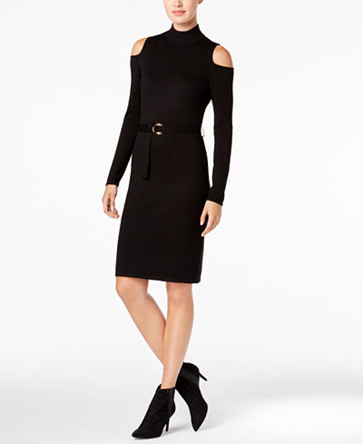 Calvin Klein Belted Cold-Shoulder Sweater Dress
