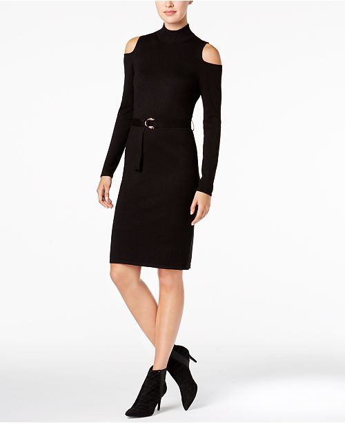 Calvin Klein Belted Cold-Shoulder Sweater Dress
