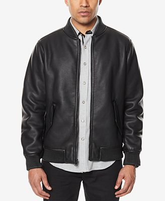 Sean John Men's Faux Leather Bomber Jacket, Created for Macy's ...