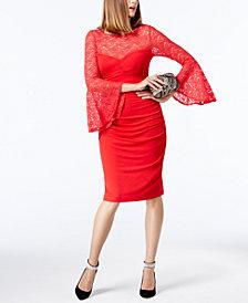 I.N.C. Petite Lace Bell-Sleeve Sheath Dress, Created for Macy's
