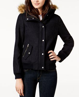 Levi's® Faux-Fur-Trim Hooded Jacket - Jackets - Women - Macy's