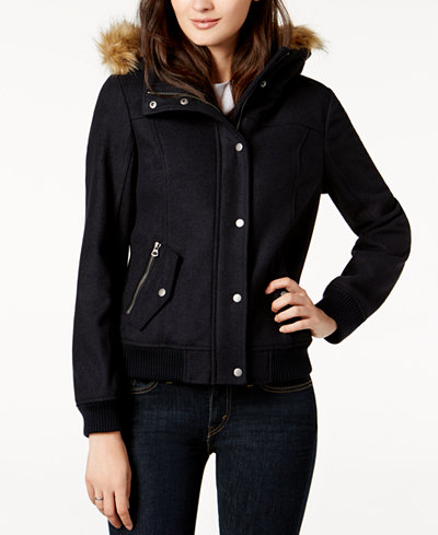 Levi's® Faux-Fur-Trim Hooded Jacket - Jackets - Women - Macy's
