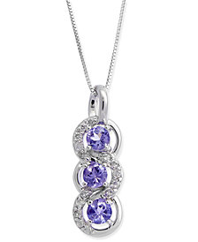 Tanzanite (3/4 ct. t.w.) & Diamond (1/5 ct. t.w.) Pendant Necklace in 14k White Gold