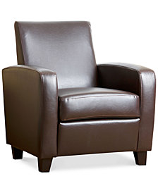 Merced Leather Club Chair, Quick Ship