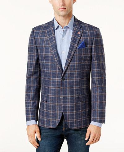 Ben Sherman Men's Slim-Fit Blue/Red Plaid Sport Coat - Blazers ...