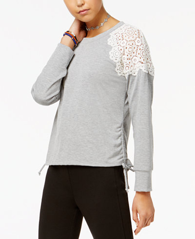 American Rag Juniors' Crochet-Trim Tie-Side Sweatshirt, Created for Macy's