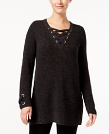 Style & Co Petite Lace Up Tunic, Created for Macy's