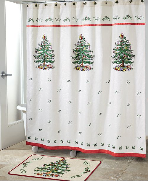 Avanti Spode Christmas Tree Shower Curtain Shower Curtains Bed Bath Macy 39 S