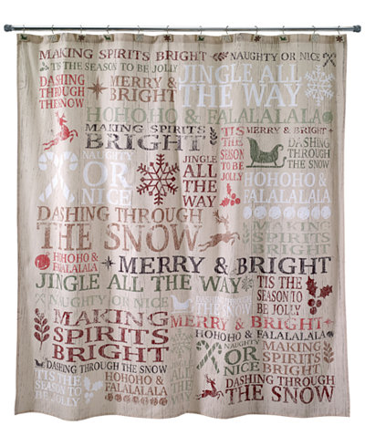 Avanti Holiday Words Shower Curtain Bathroom Accessories Bed - Shower curtain with words