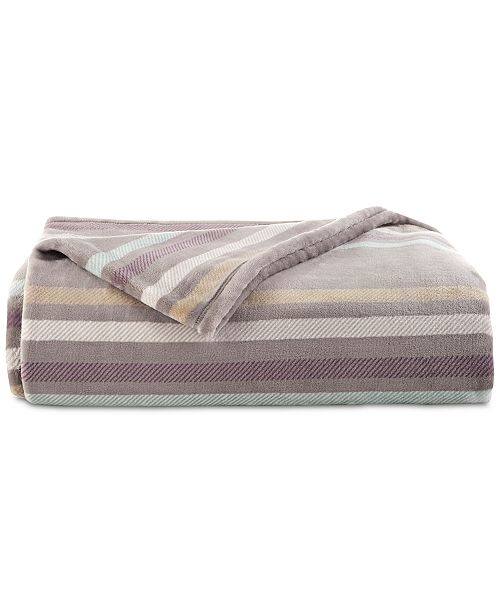 Vellux Emmitt Stripe Printed Gray Full/Queen Plush Blanket