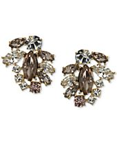 Marchesa Gold-Tone Clear & Rose Crystal Cluster Stud Earrings