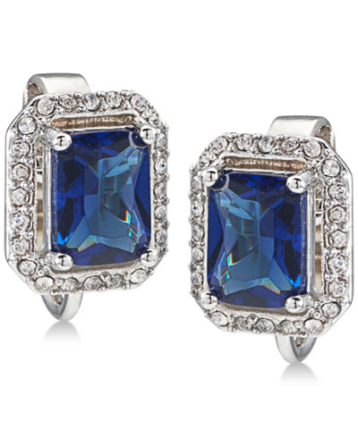 Carolee Silver-Tone Pavé & Blue Stone Clip-On Stud Earrings