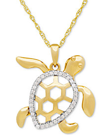 Diamond Turtle Pedant Necklace (1/10 ct. t.w.) in 10k Gold