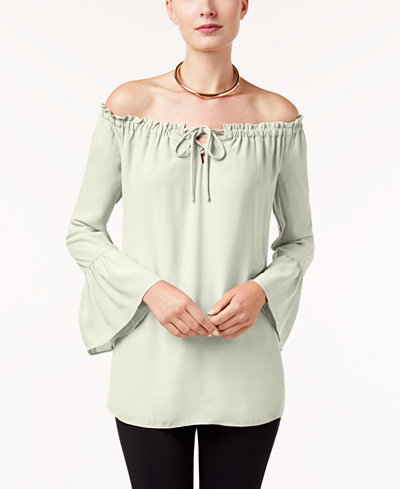 Alfani Off-The-Shoulder Bell-Sleeve Top, Created for Macy's