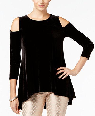 Alfani Petite Velvet Cold-Shoulder Tunic, Created for Macy's