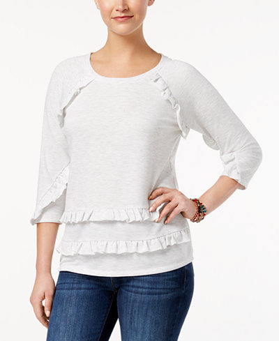 Style & Co Petite Ruffle-Trim Top, Created for Macy's