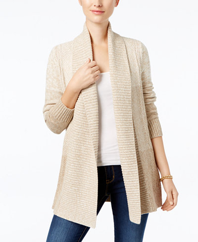 Charter Club Petite Colorblocked Marled Cardigan, Created for Macy's