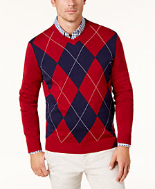 Club Room Men's Argyle Pima Cotton Sweater, Created for Macy's
