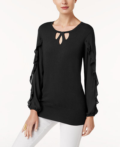 Alfani Keyhole Ruffle-Sleeve Sweater, Created for Macy's