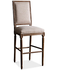 CLOSEOUT! Gabriella Linen Rectangle Back Bar Stool, Quick Ship