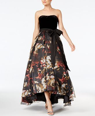 Betsy & Adam Strapless High-Low Gown
