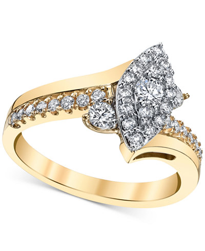 Diamond Marquise-Cluster Twist Engagement Ring (5/8 ct. t.w.) in 14k Gold