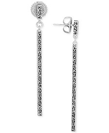 Lois Hill Filigree Stick Linear Drop Earrings in Sterling Silver