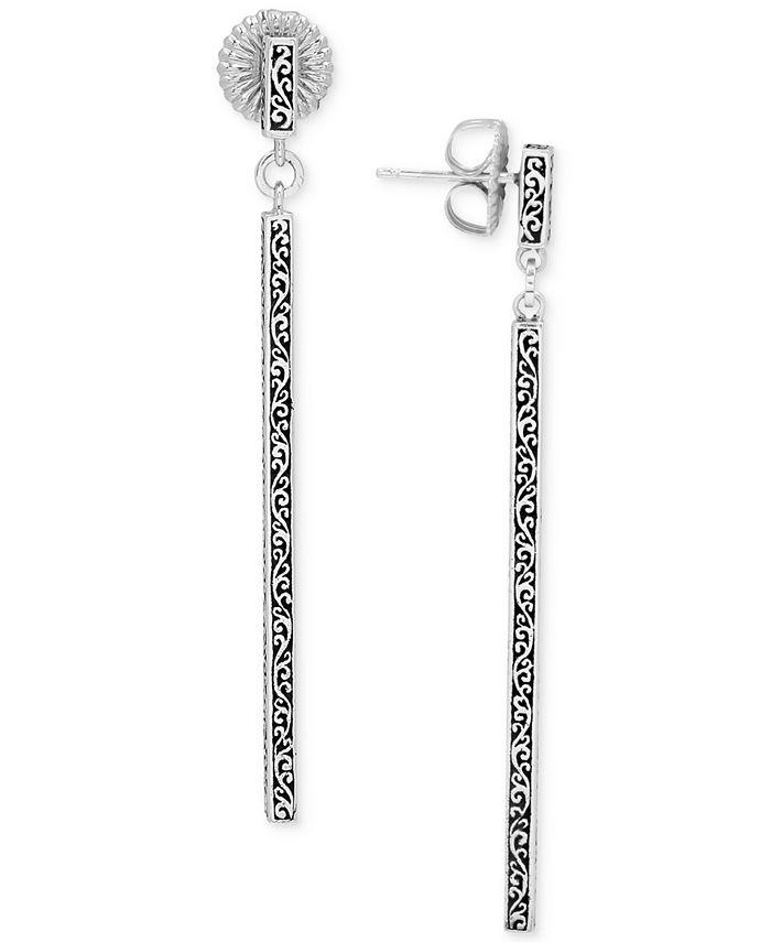 Lois Hill - Filigree Stick Linear Drop Earrings in Sterling Silver