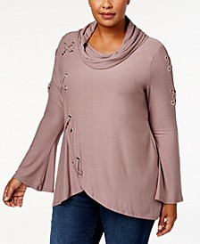 Plus Size Cowl-Neck Grommet Top
