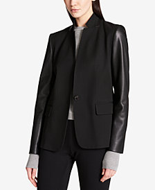DKNY Faux-Leather-Sleeve Blazer
