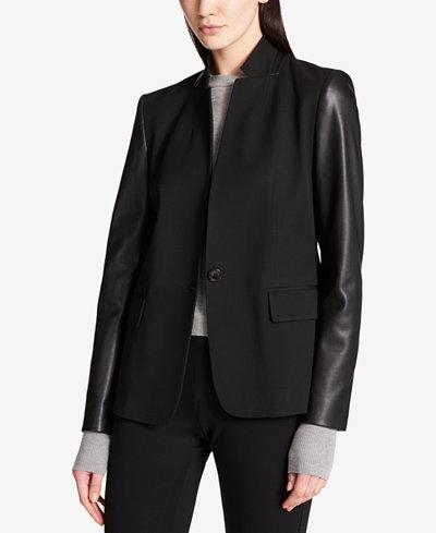 DKNY Faux-Leather-Sleeve Blazer - Jackets - Women - Macy's