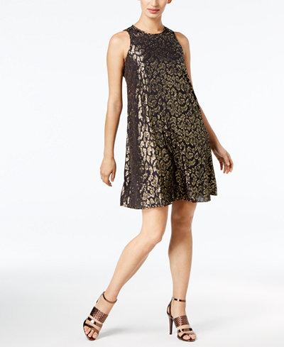 Calvin Klein Metallic Animal-Print Chiffon Dress