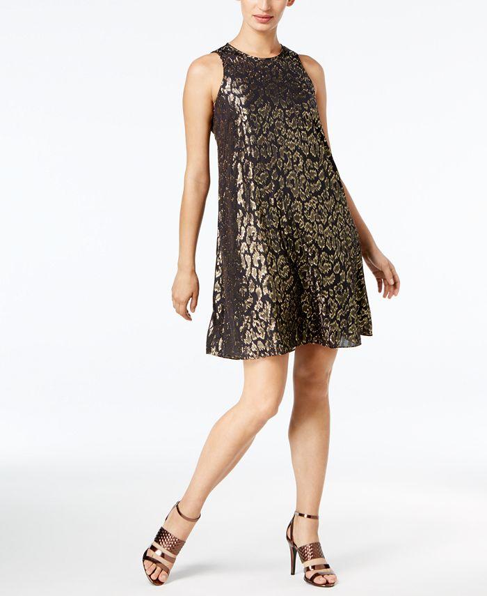 Calvin Klein - Metallic Animal-Print Chiffon Dress