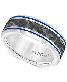 Men's Blue Stripe Carbon Fiber Band in Tungsten Carbide