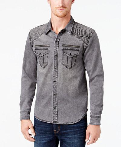 BS by Blake Shelton Men's Denim Shirt, Created for Macy's