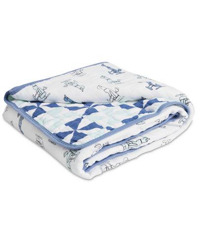 aden by aden + anais Cotton Sky High Printed Muslin Blanket, Baby Boys