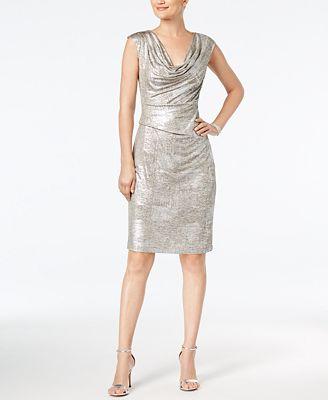 Connected Metallic Cowl-Neck Sheath Dress, Regular & Petite Sizes