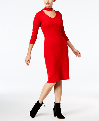 Taylor Choker-Neck Sweater Dress