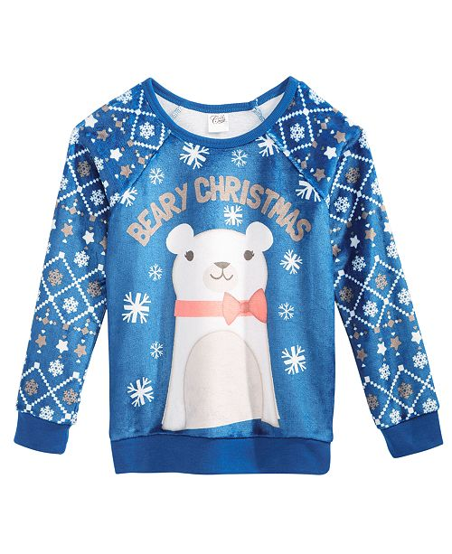 Evy of California Holiday-Bear Fuzzy Plush Sweatshirt, Big Girls